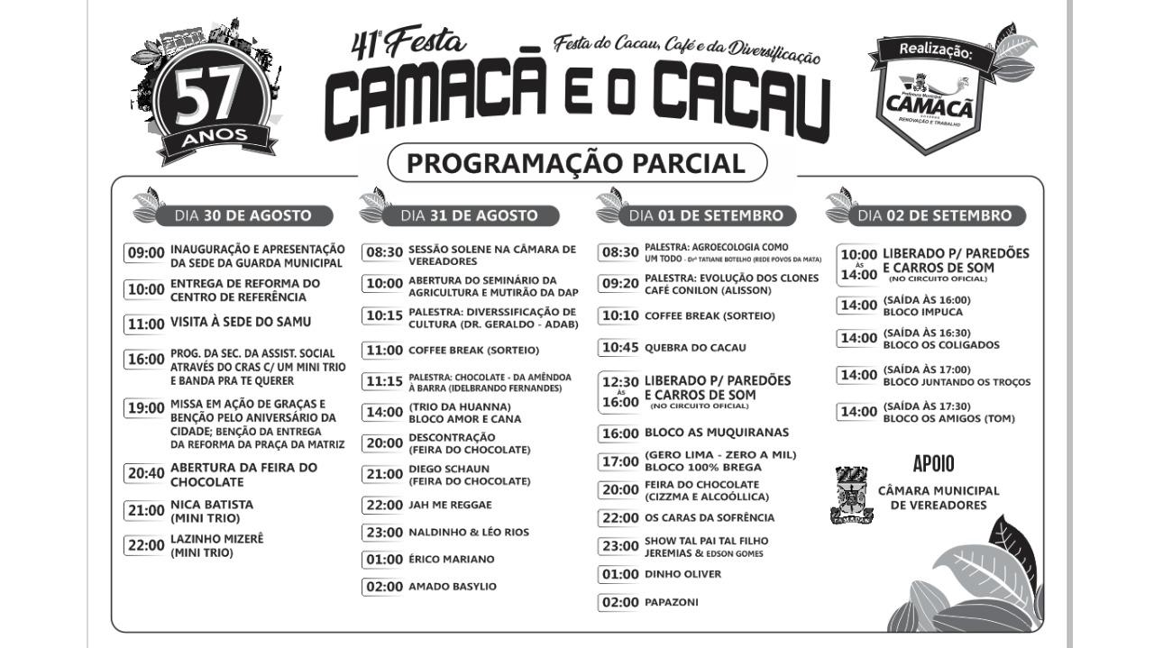 Acontece neste final de semana a 41ª Festa Camacã e o Cacau 2