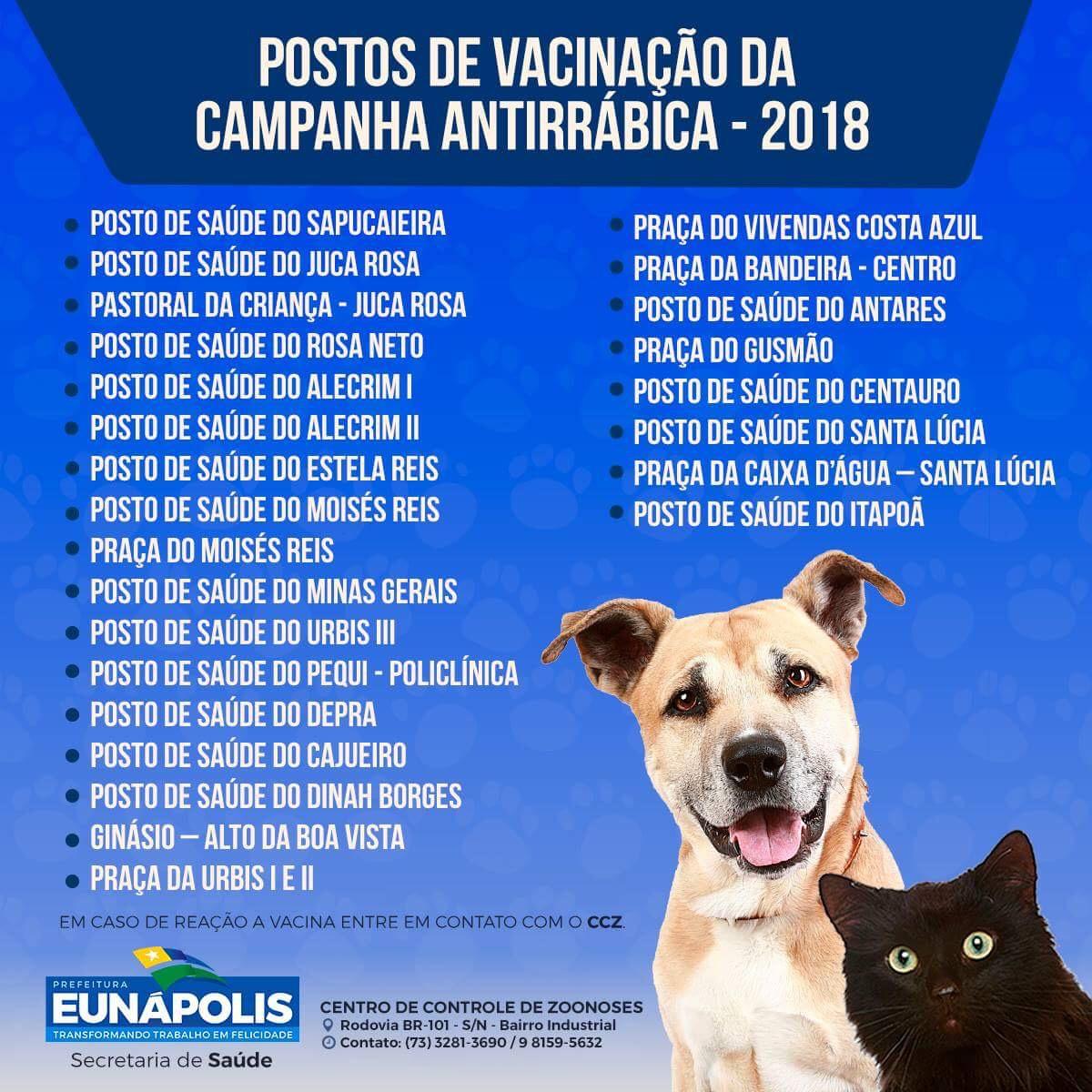 Eunápolis realiza Campanha de Vacinação de Cães e Gatos neste sábado (11/08) 2