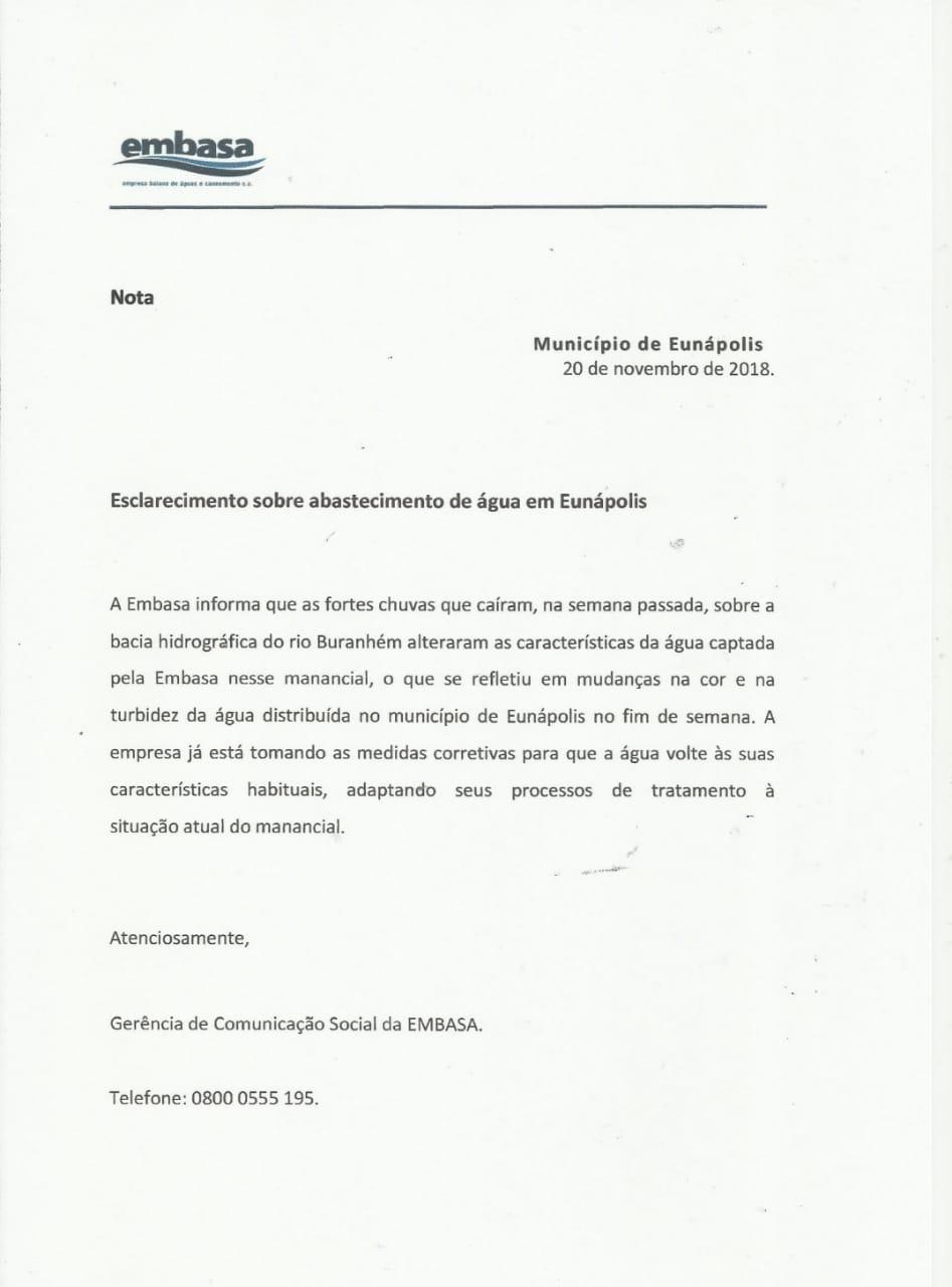 Nota de esclarecimento da Embasa: Abastecimento é temporariamente interrompido em bairros de Eunápolis 2