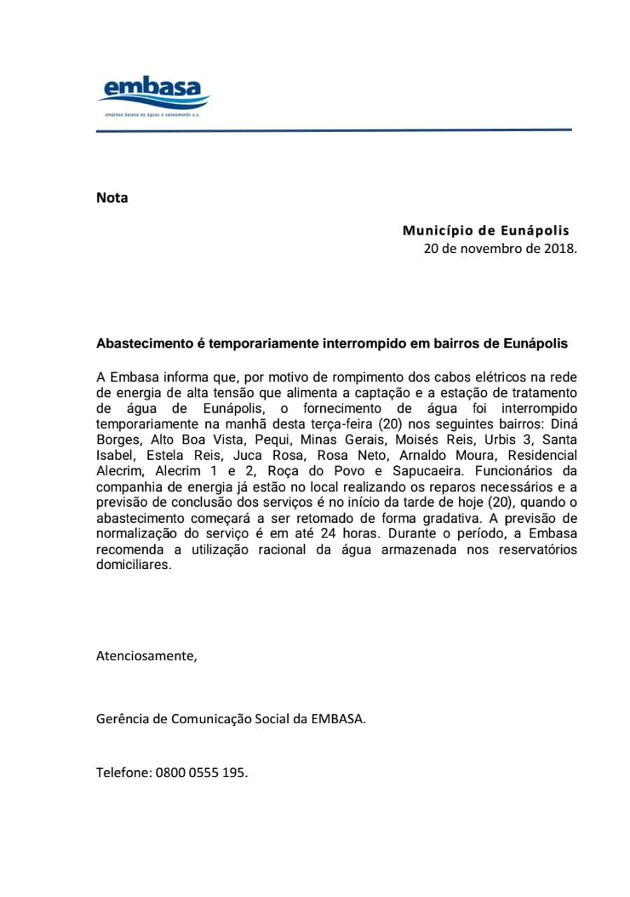 Nota de esclarecimento da Embasa: Abastecimento é temporariamente interrompido em bairros de Eunápolis 1