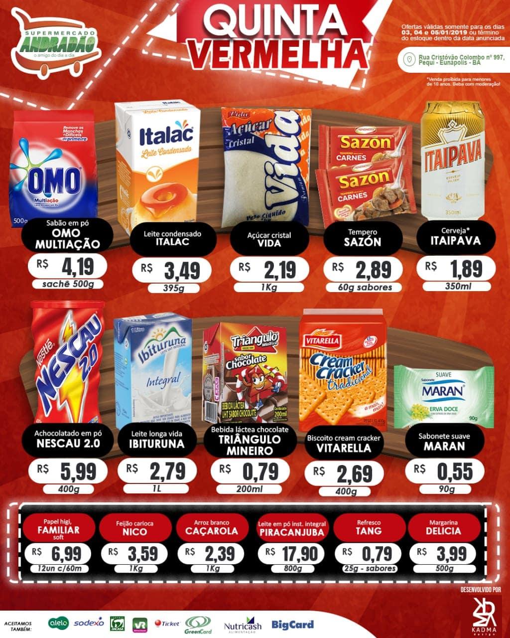 Promoção : Quinta Vermelha – Supermercado Andradão – Ofertas Válidas somente para os dias 03 A 05/01/19 2