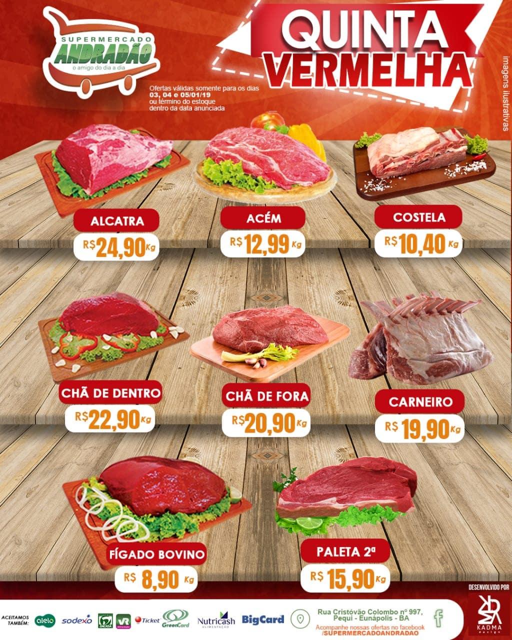 Promoção : Quinta Vermelha – Supermercado Andradão – Ofertas Válidas somente para os dias 03 A 05/01/19 1