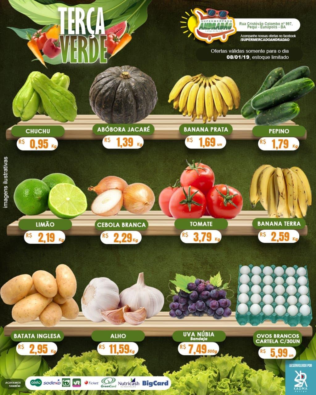Confiram as ofertas desta terça verde! 08 a 09/01/19 – Supermercado Andradão 1