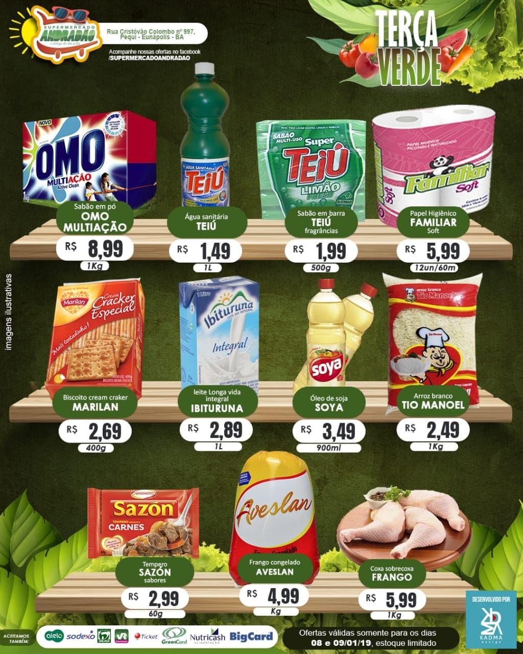 Confiram as ofertas desta terça verde! 08 a 09/01/19 – Supermercado Andradão 2