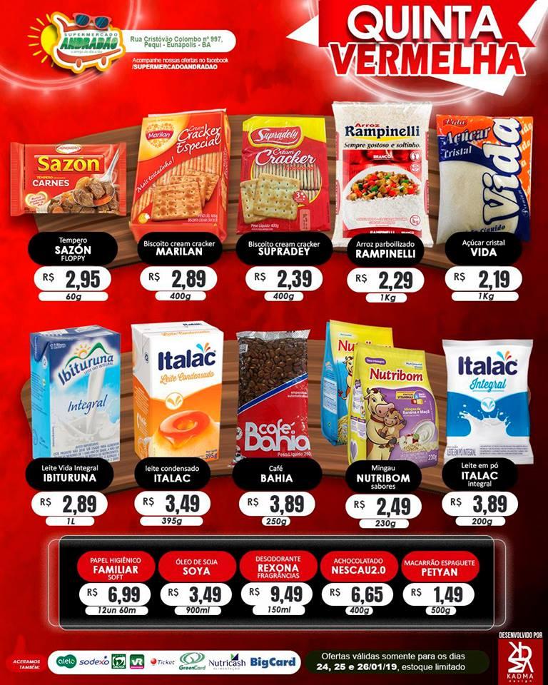 Promoção : Quinta Vermelha – Supermercado Andradão – Ofertas Válidas somente para os dias 24 A 26/01/19 2