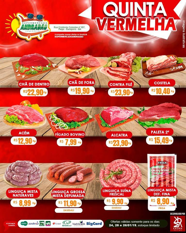 Promoção : Quinta Vermelha – Supermercado Andradão – Ofertas Válidas somente para os dias 24 A 26/01/19 1