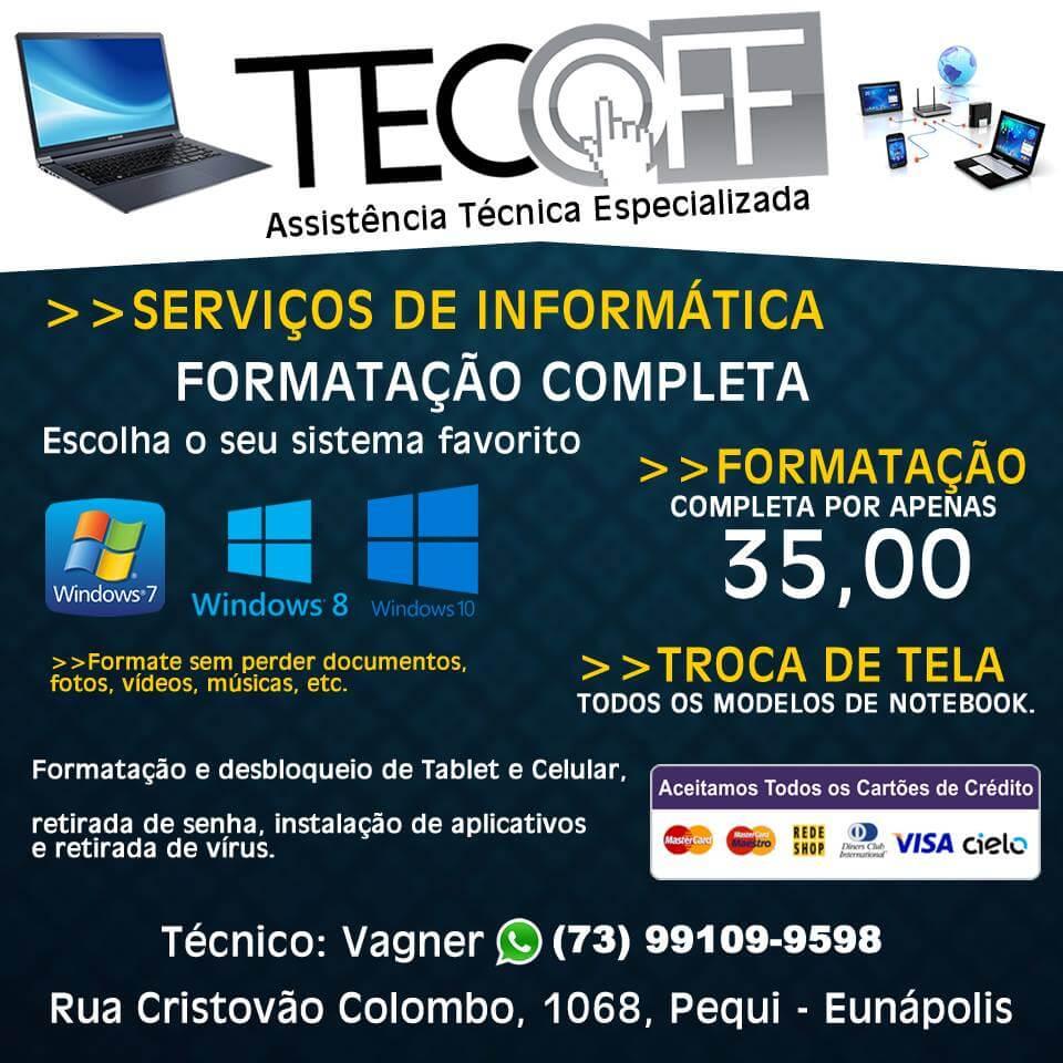 Formatação de Notebook e Computador por R$ 35,00 na Tecoff Informática 2