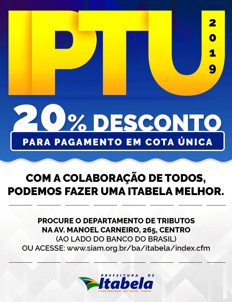 Prefeitura de Itabela informa que contribuintes devem pagar IPTU até 1º de abril 1