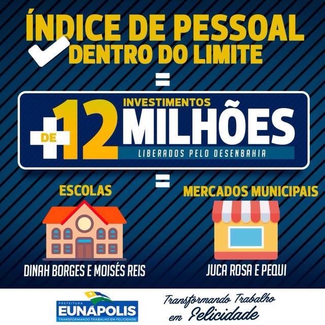 Prefeitura de Eunápolis mantém limite de gastos com pessoal e o DESENBAHIA libera investimento de mais de 12 milhões 28