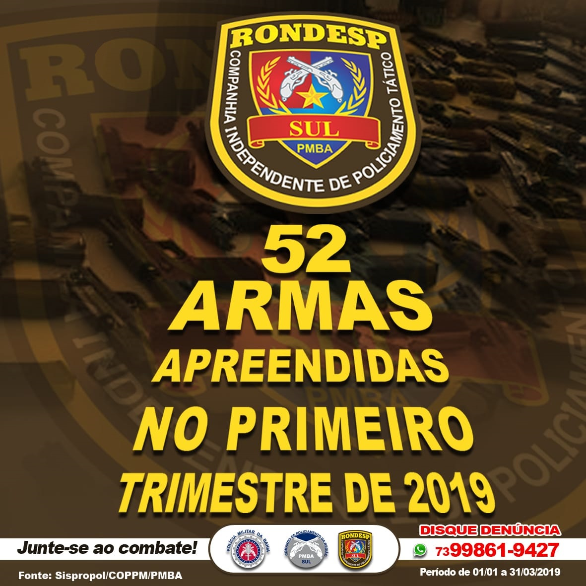 PMBA/CPRS/CIPT-SUL  -  RONDESP SUL APRESENTA DADOS ESTATÍSTICOS DO PRIMEIRO TRIMESTRE DE 2019. 1