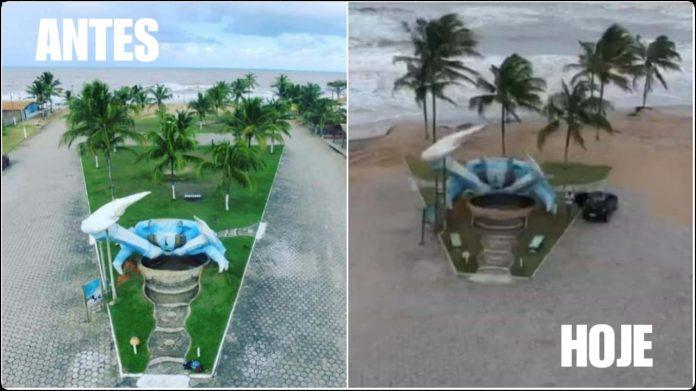 Mar avança em Belmonte e é nítido o rastro de destruição próximo a escultura famosa 56