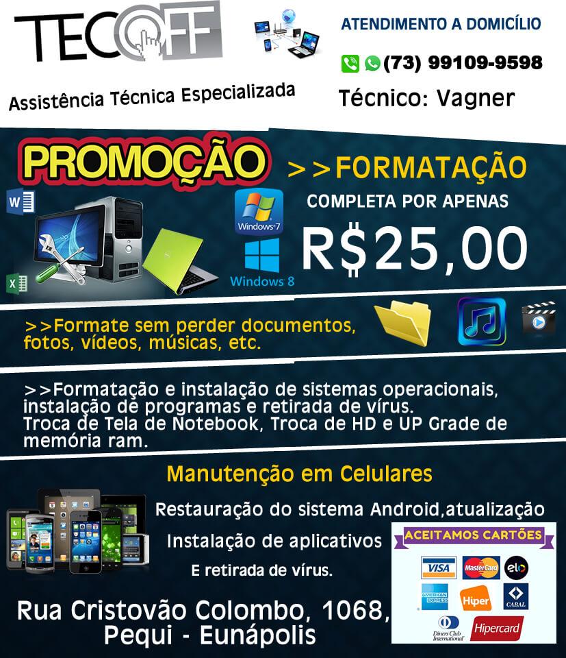 Formatação de Notebook e Computador por R$ 25,00 na Tecoff Informática 1