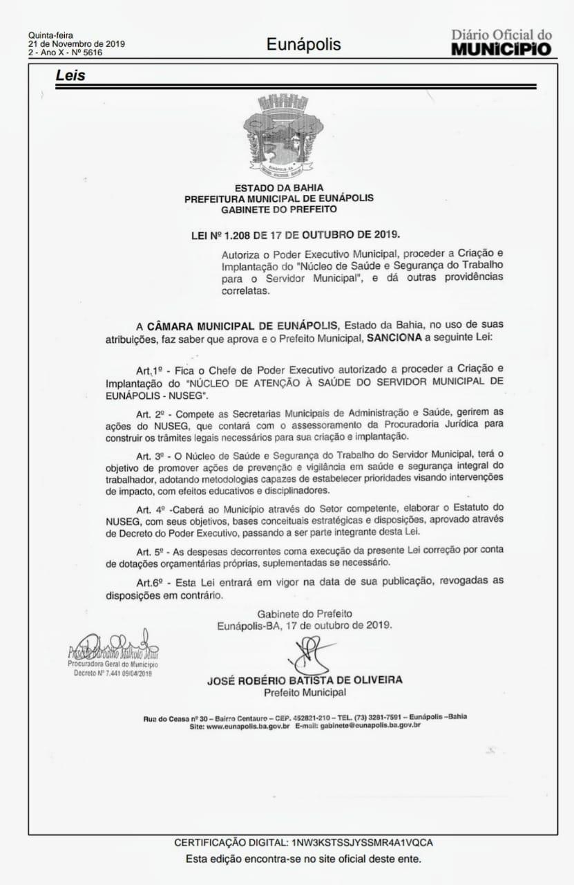 Presidente da Câmara comemora Lei que cria Núcleo de Segurança do Trabalho para servidores 2
