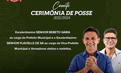 Posse do Prefeito eleito Bebeto Gama e Vereadores será por meio de Live. 44