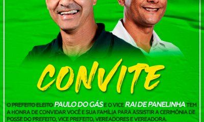 Camacã: Prefeito eleito Paulo do Gás e seu vice Rai de Panelinha convida à todos para assistir a cerimônia de posse 20