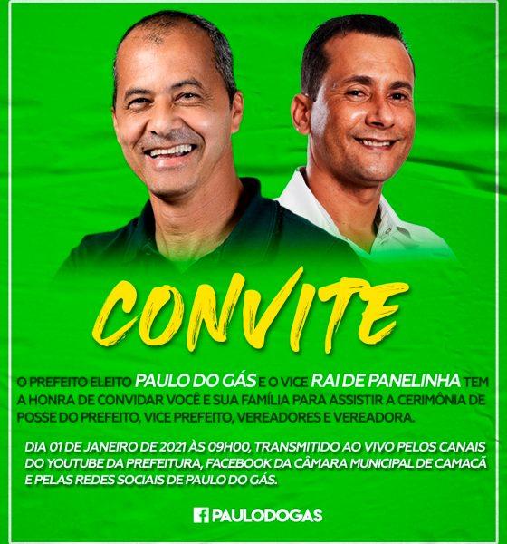 Camacã: Prefeito eleito Paulo do Gás e seu vice Rai de Panelinha convida à todos para assistir a cerimônia de posse 16