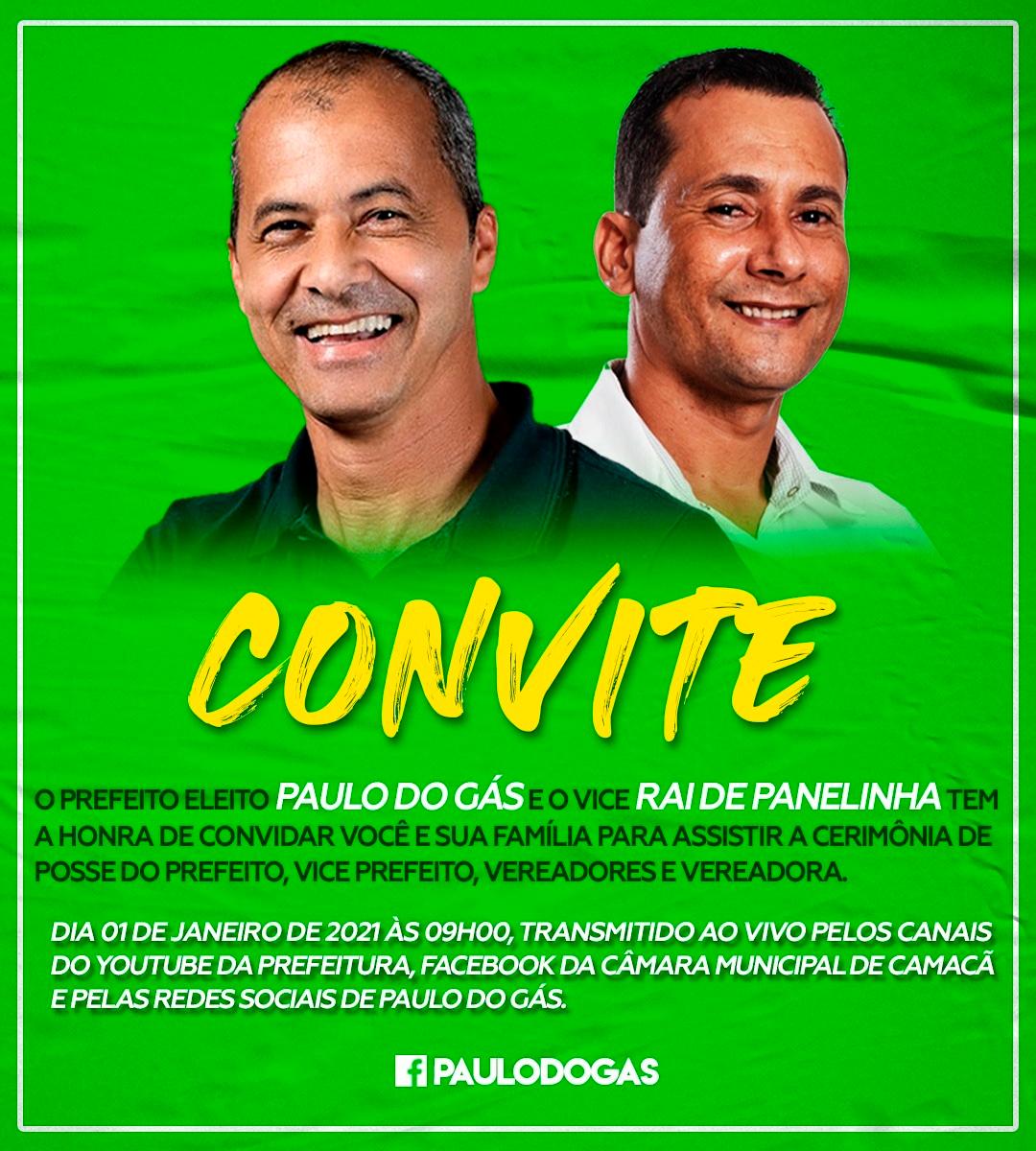Camacã: Prefeito eleito Paulo do Gás e seu vice Rai de Panelinha convida à todos para assistir a cerimônia de posse 18