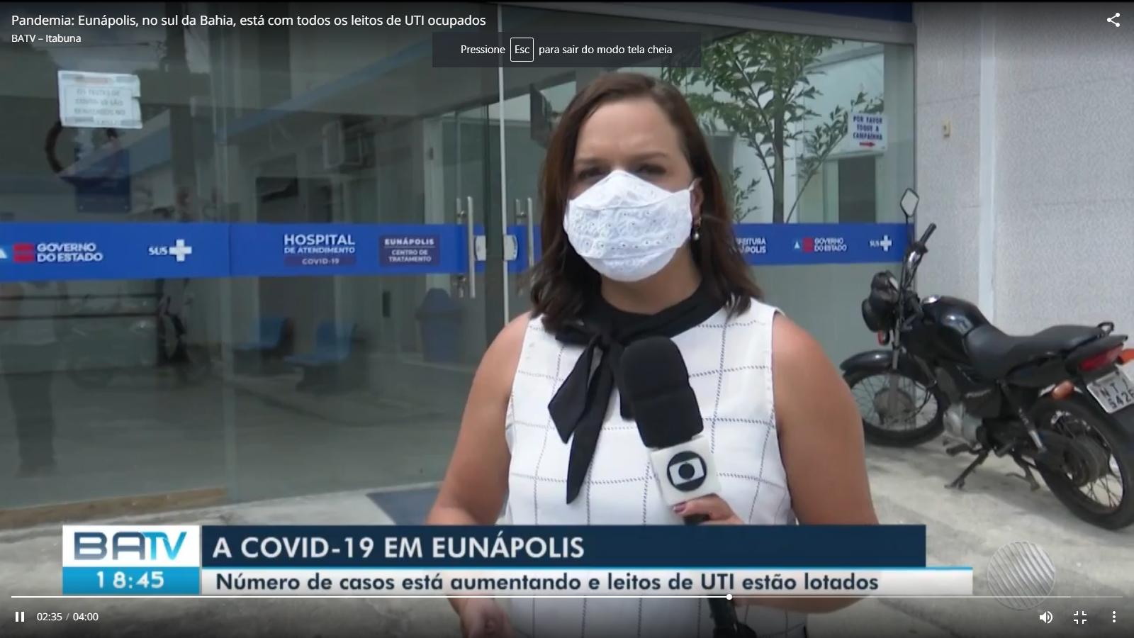 Eunápolis notifica mais de 600 casos suspeitos de pessoas com Covid-19; cidade segue com 100% dos leitos de UTI ocupados 21