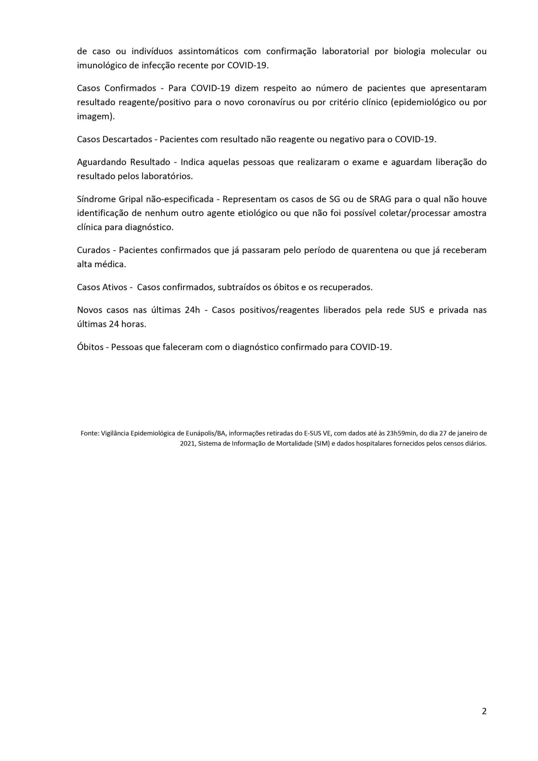 Boletim Epidemiológico Coronavírus do Município de Eunápolis para a data de hoje, 28/01/2021. 24