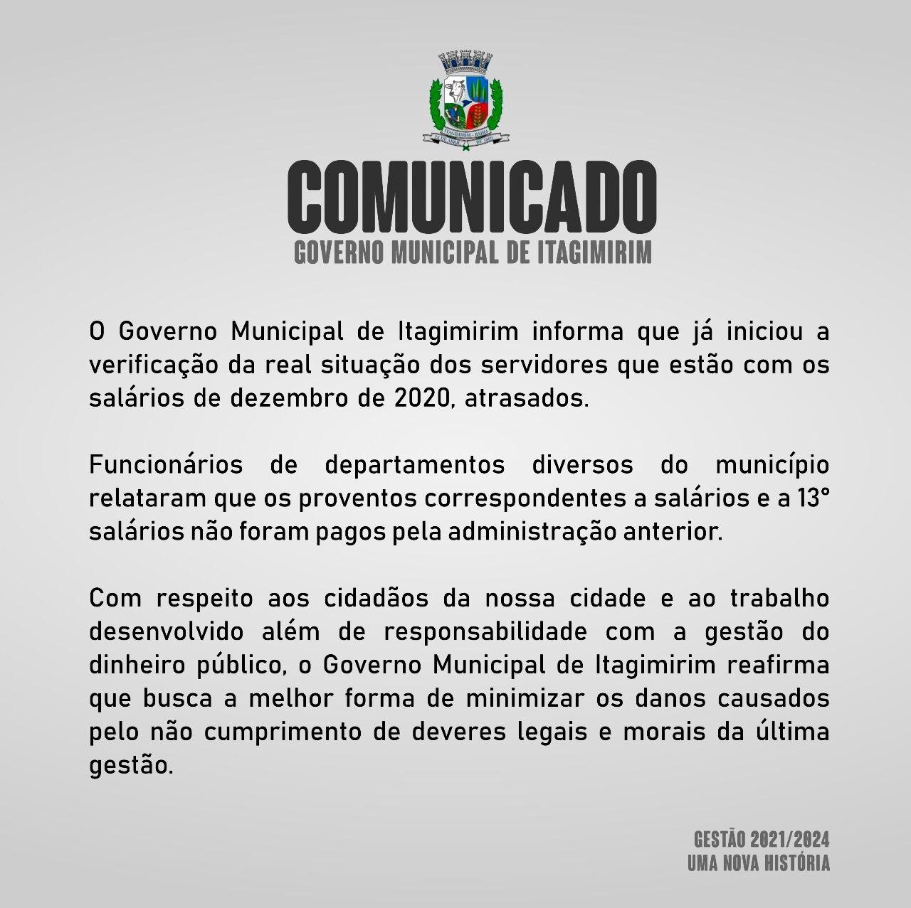 COMUNICADO - GOVERNO MUNICIPAL DE ITAGIMIRIM 18