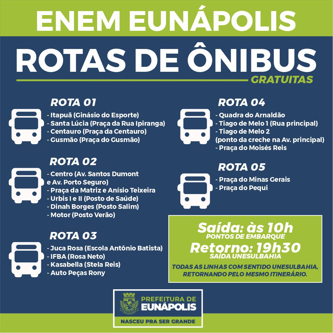 Prefeitura de Eunápolis disponibiliza transporte gratuito para o Enem 21