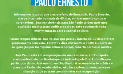 NOTA PÚBLICA: Estado de saúde do ex-prefeito Paulo Ernesto, em recuperação, ainda inspira cuidados 16