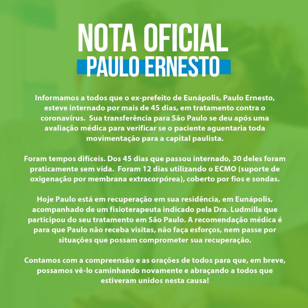 NOTA PÚBLICA: Estado de saúde do ex-prefeito Paulo Ernesto, em recuperação, ainda inspira cuidados 18
