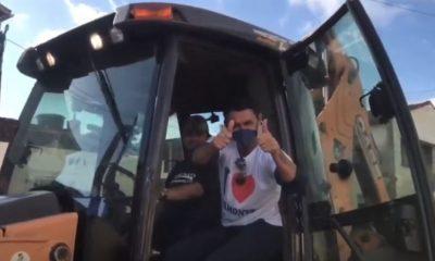 Belmonte: Prefeito Bebeto desfila nas ruas com o maquinário da nova empresa de Limpeza Pública. 33