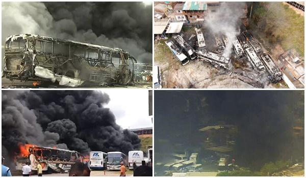 Incêndio atinge garagem de ônibus e destrói veículos na Bahia 26