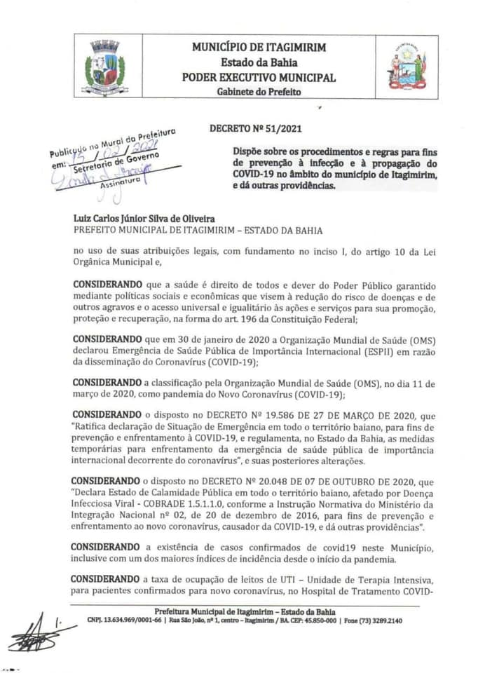 ITAGIMIRIM - ALERTA VERMELHO CONTRA A COVID-19: Governo Municipal aperta medidas de combate a pandemia 27
