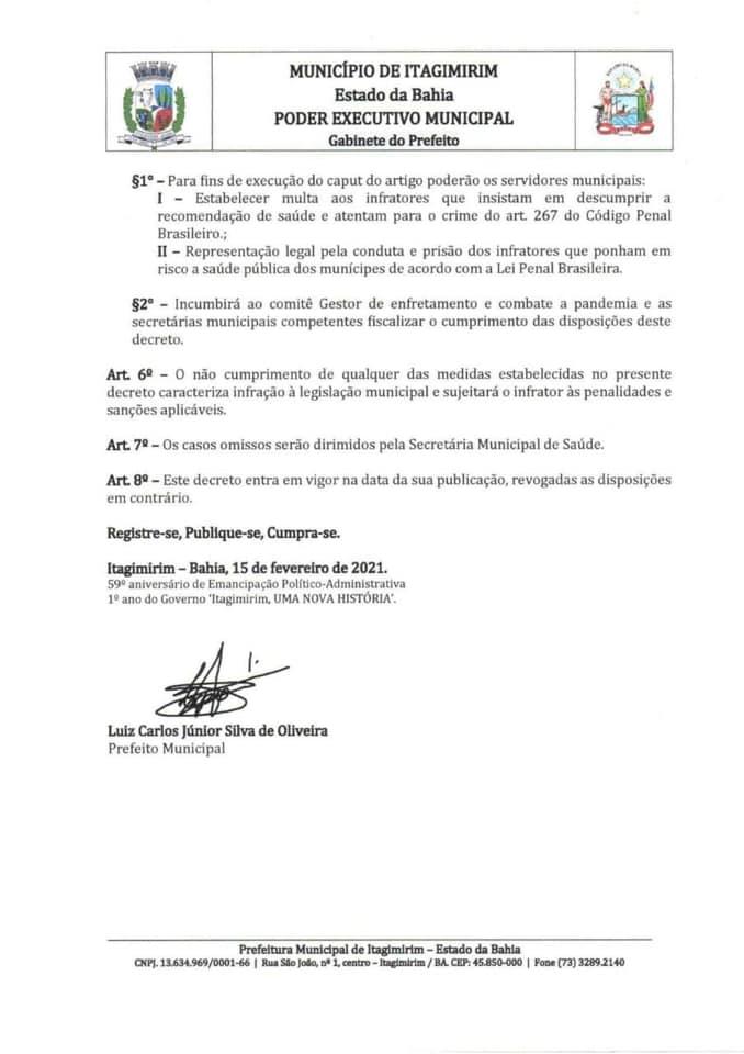 ITAGIMIRIM - ALERTA VERMELHO CONTRA A COVID-19: Governo Municipal aperta medidas de combate a pandemia 30