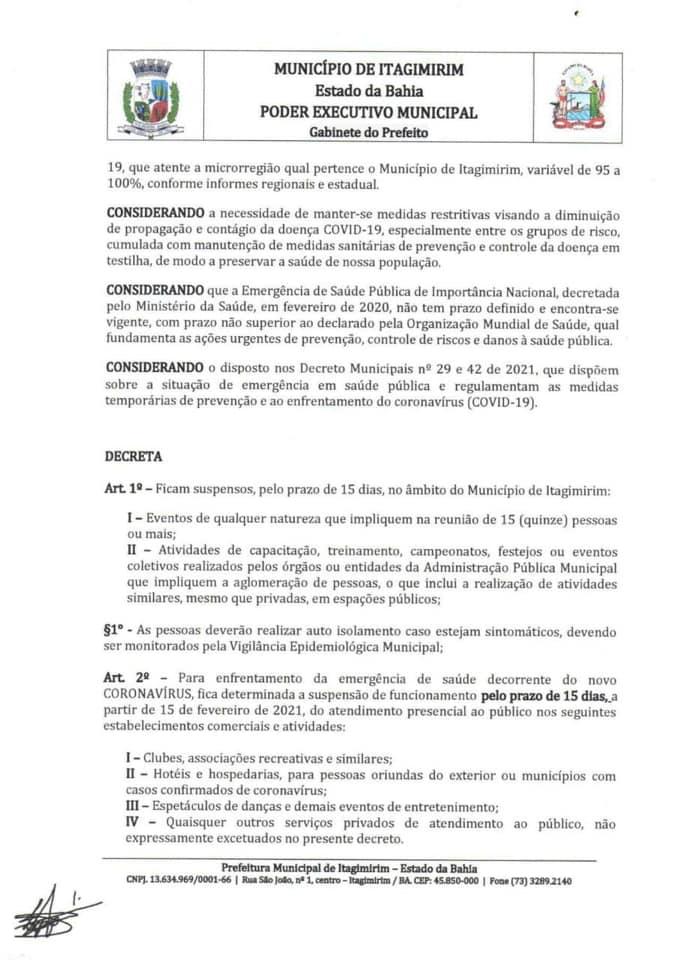 ITAGIMIRIM - ALERTA VERMELHO CONTRA A COVID-19: Governo Municipal aperta medidas de combate a pandemia 28