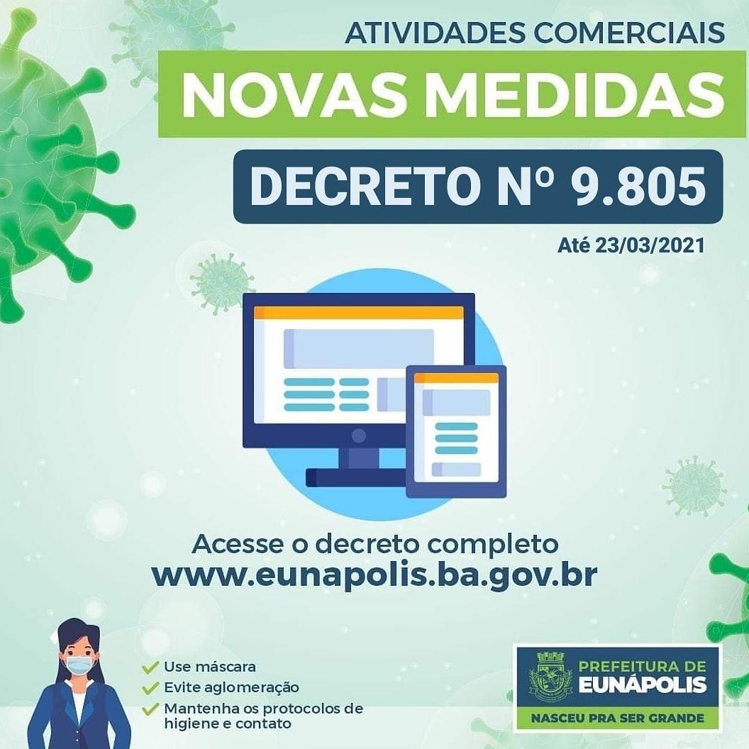 Decreto prorrogado mantém retomada gradativa de atividades econômicas e comerciais, em Eunápolis 18