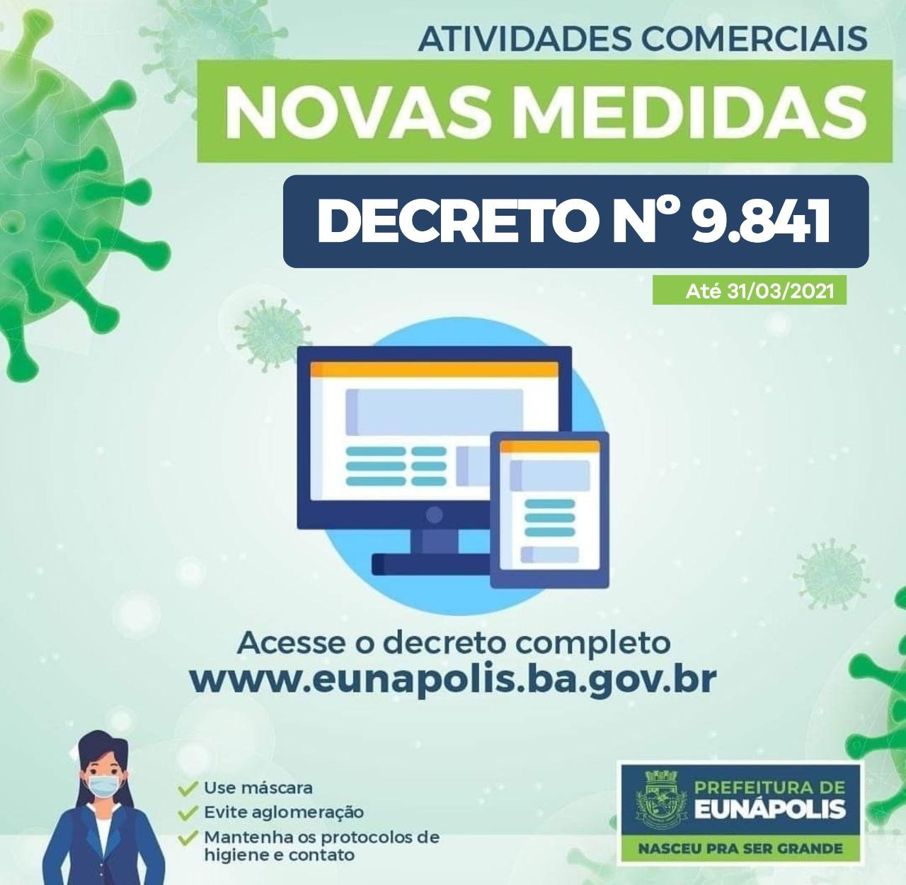 Em Eunápolis, novo decreto mantém medidas e funcionamento de atividades econômicas e comerciais 23