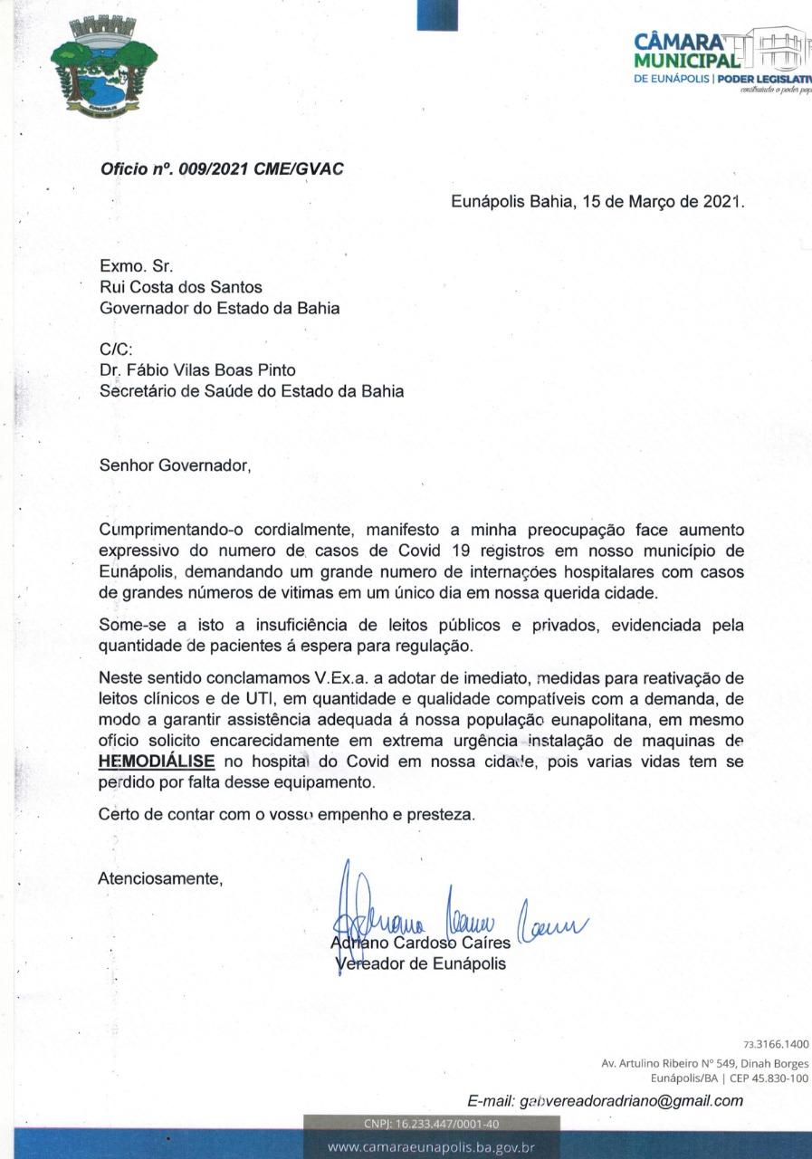 Vereador Adriano Cardoso envia oficio ao Governador Rui Costa, solicitando máquinas de hemodiálise para o Hospital Covid de Eunápolis 21