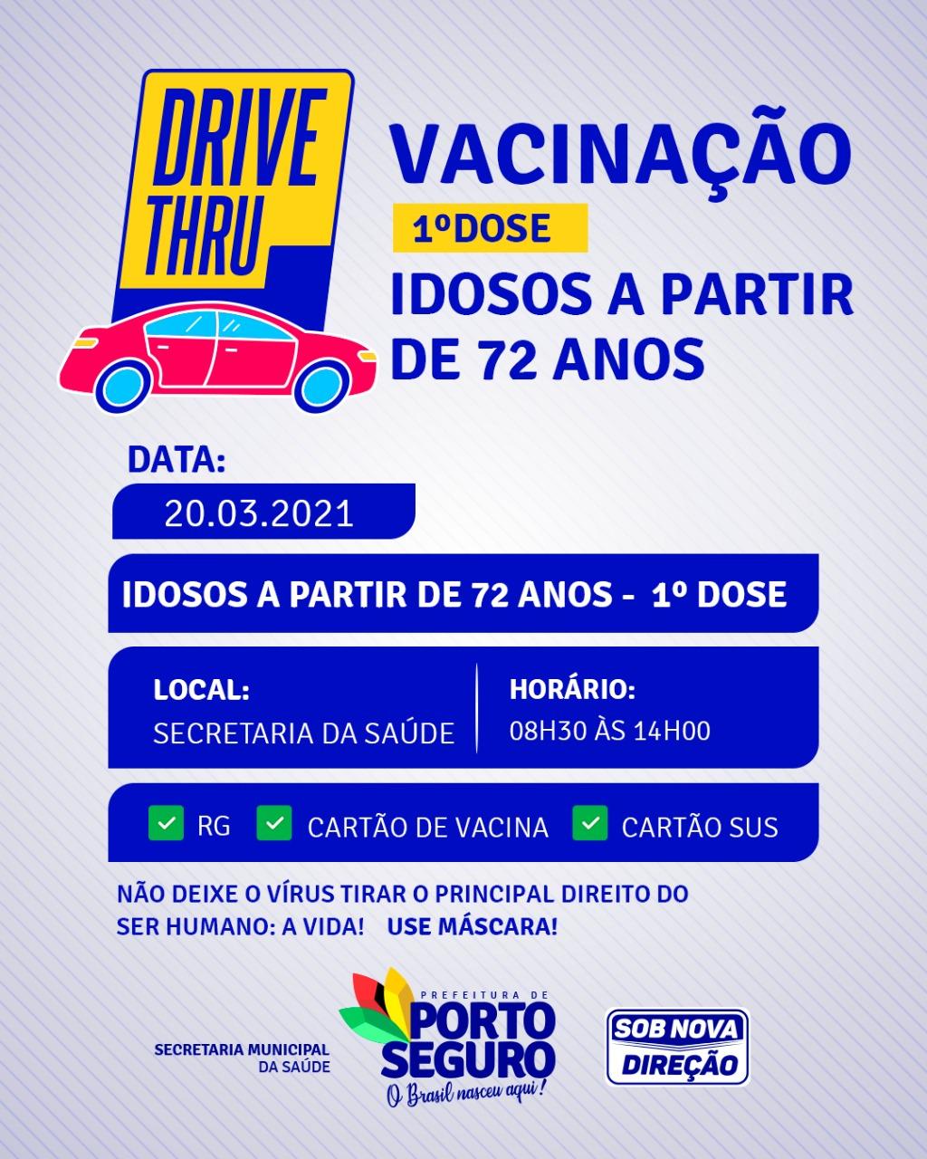 Drive Thru vacinação contra a COVID-19 idosos a partir de 72 anos na Terra Mãe do Brasil 18