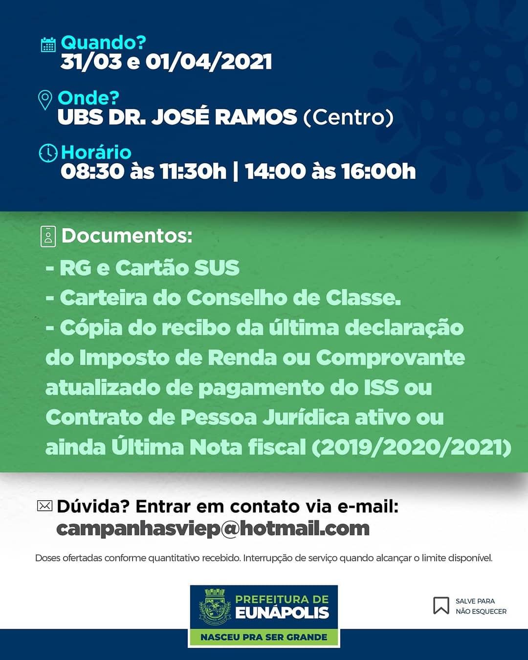 EUNÁPOLIS VACINA OS PROFISSIONAIS DE SAÚDE AUTÔNOMOS A PARTIR DESTA QUARTA, 31 21