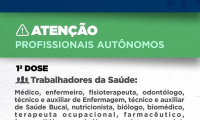 EUNÁPOLIS VACINA OS PROFISSIONAIS DE SAÚDE AUTÔNOMOS A PARTIR DESTA QUARTA, 31 47