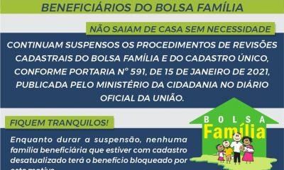 Revisões cadastrais do Bolsa Família e do Cadastro Único permanecem suspensas 77
