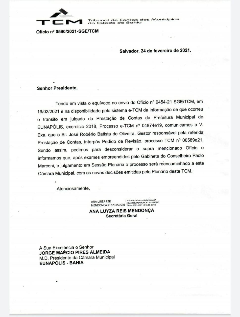 Por decisão do TCM, Câmara de Eunápolis suspende tramitação das contas da Prefeitura referente a 2018 23