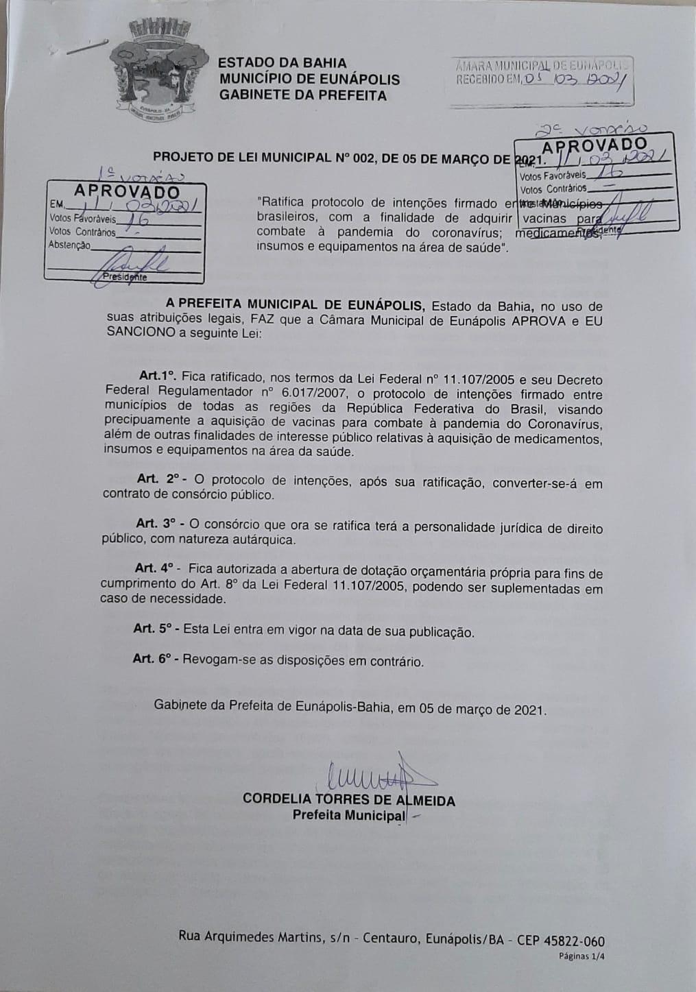 Câmara de Eunápolis aprova projeto que autoriza Prefeitura a comprar vacinas contra Covid-19 24