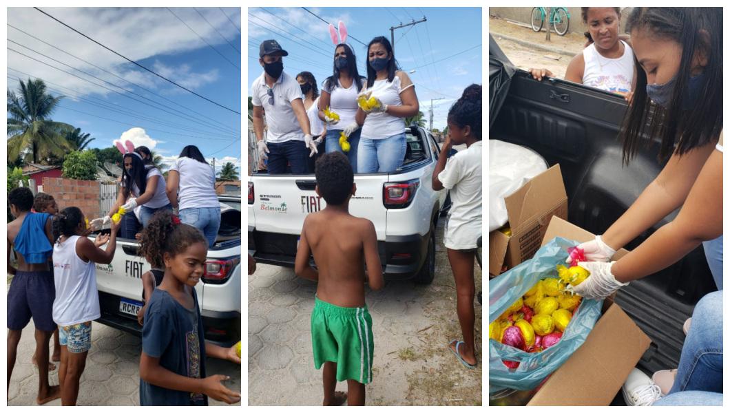 Cabelereiro distribui 1.000 ovos de páscoa para crianças carentes de Belmonte. 26