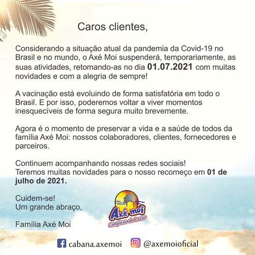 Grupo Axé Moi suspende atividades em Porto Seguro por conta da Covid 21