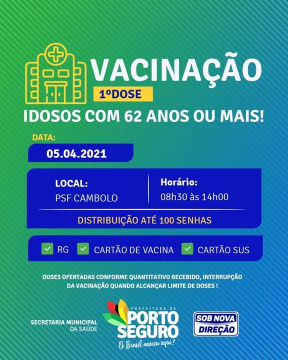 Terra Mãe do Brasil vacinada: agenda de vacinação de idosos com 62 anos ou mais nesta segunda-feira (5) 20