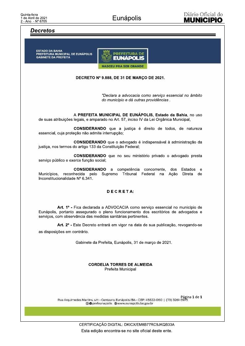 Decreto torna advocacia serviço essencial durante pandemia 21