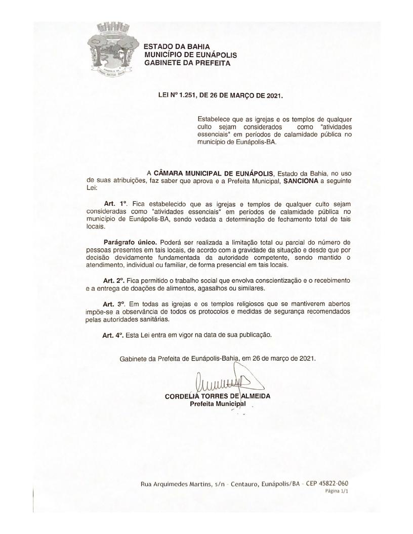 Prefeita Cordélia sanciona lei que considera igrejas e templos de qualquer culto como atividades essenciais, em Eunápolis 21