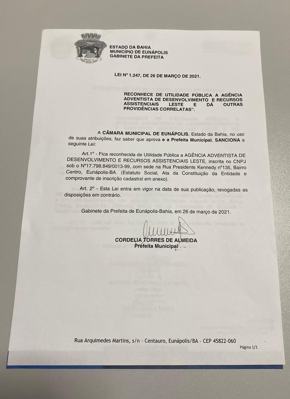 Sancionada lei que reconhece Agência Adventista de Desenvolvimento e Recursos Assistenciais como de utilidade pública, em Eunápolis 24