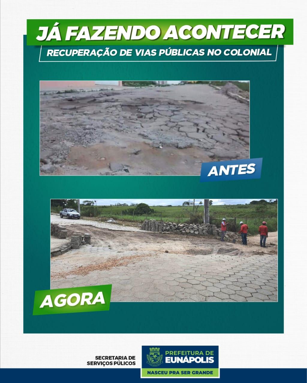 Prefeitura de Eunápolis recupera pavimentação no bairro Colonial. 21