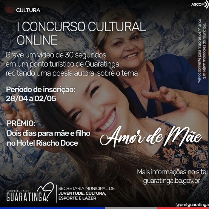 Inscrições abertas para concurso cultural 'Amor de Mãe' em Guaratinga 18