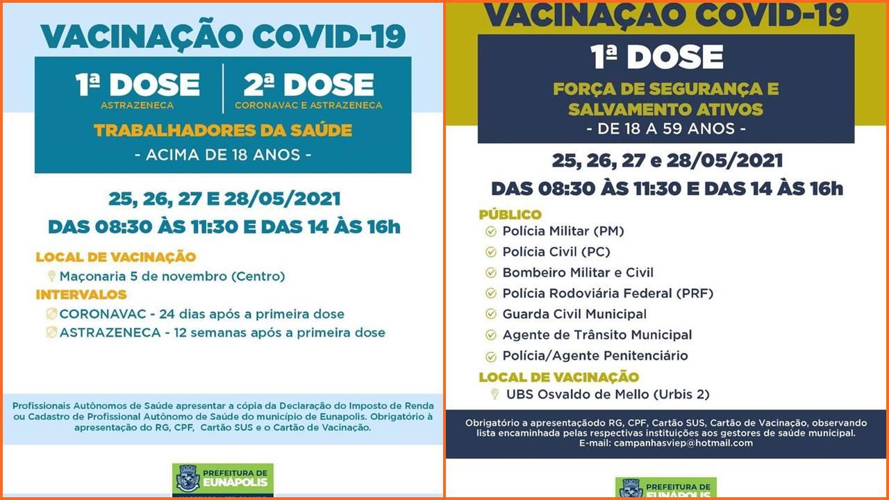 EUNÁPOLIS: Confira grupos para vacinação Covid-19 de 25 a 28/5 23